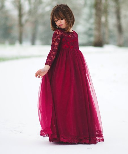 21f6a956b89f love this product Wine Lace-Accent Isabelle Maxi Dress - Toddler & Girls