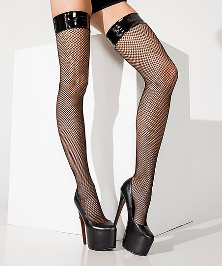FISHNET THIGH HIGHS WITH VINYL TOPS BLACK OS