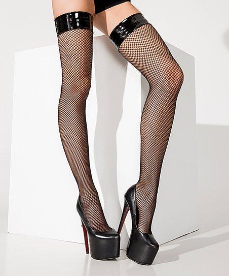 46809f219 love this product Black Vinyl-Top Fishnet Thigh-High Stockings - Women