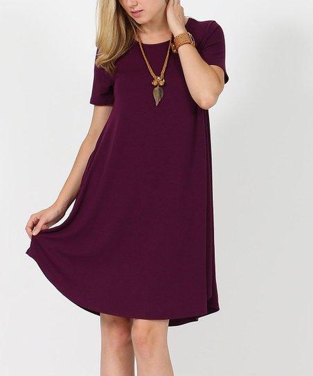 202002c344a love this product Dark Plum Crewneck Short-Sleeve Curved-Hem Pocket Tunic  Dress - Women & Plus