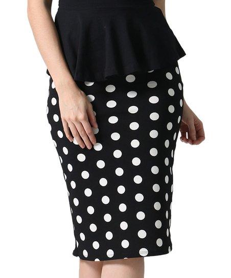 Black Stripe Peplum Maxi Skirt Plus