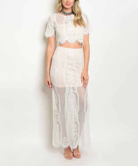 f019ecd3b1a love this product Ivory & Blush Lace Crop Top & Side-Slit Maxi Skirt