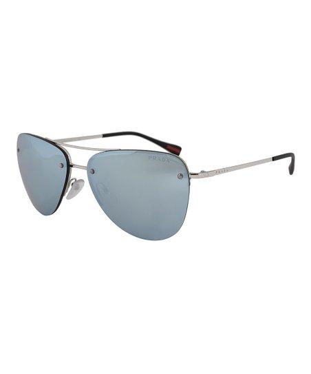 37a6d36c5fc Prada Silver   Blue Rimless Sunglasses
