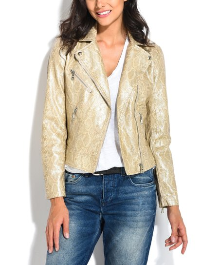 b86380e16893 Orice Gold Snake-Embossed Faux Leather Moto Jacket - Women | Zulily