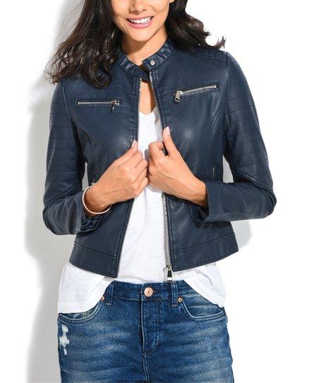 b292e7119 Orice Blue Faux Leather Mandarin-Collar Moto Jacket