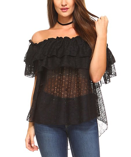 2313ee6f001e41 Noa Elle Black Sheer Lace Off-Shoulder Top | Zulily