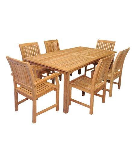Love This Product 70u0027u0027 Teak Rectangular Patio Table U0026 Six Piece Millbrook  Chair Set