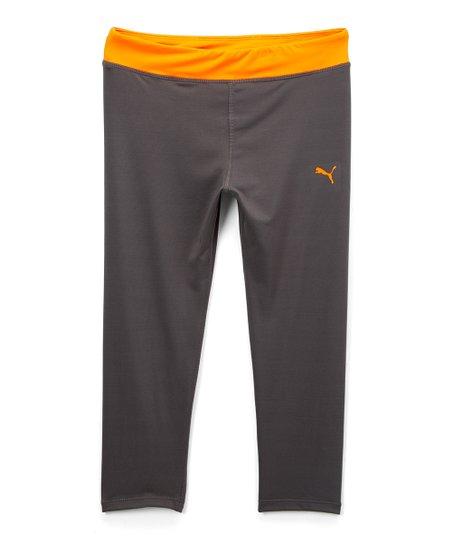 7ce886d7ce6381 love this product Gray & Orange Capri Leggings - Girls
