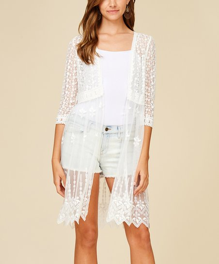 7a0be5c2295 Annabelle USA Off-White Sheer Lace Open Cardigan - Women