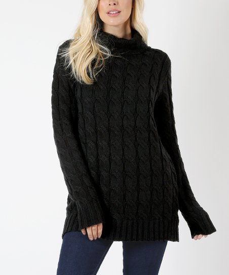 Zenana Black Cable-Knit Turtleneck Sweater - Women  a79a98151