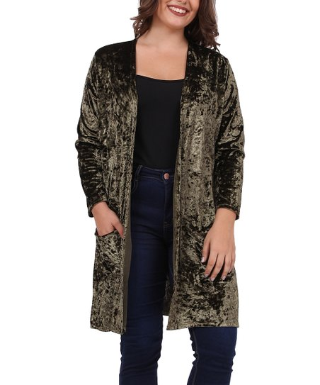 614a78acc9 love this product Olive Velvet Side-Pocket Open Cardigan
