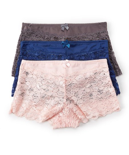 872290a4a97472 love this product Snorkel Blue   Smoked Pearl Lace Boyshorts Set