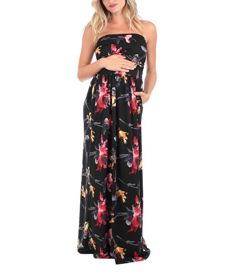 4a1b09ac937cd Mother Bee Maternity Black Floral Side-Pocket Maternity Strapless ...