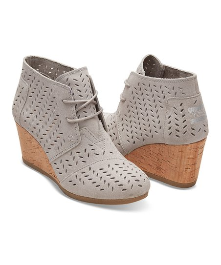 18ddb5be192 TOMS Drizzle Gray Perforated Leaf Suede Desert Wedge Bootie - Women ...