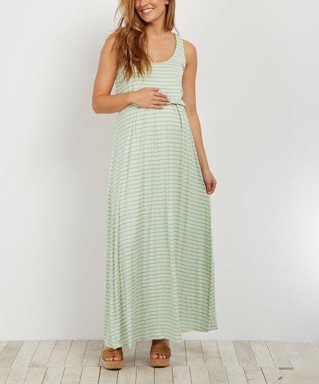 bedeb975bab14 love this product PinkBlush Beige & Mint Stripe Maternity Maxi Dress