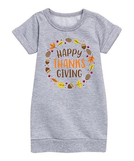 Athletic Heather 'Thanksgiving' Sweatshirt Dress - Toddler & Girls