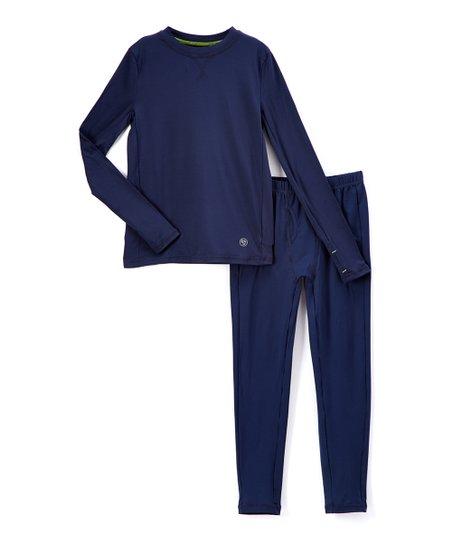 5b8b4d5bbc5fe Cuddl Duds Blue ClimateSmart Comfortech Base Layer Top & Leggings ...