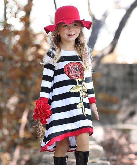 Mia Belle Girls Black Red Rose Hi Low Sweater Dress Toddler Zulily