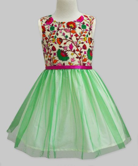 7fac751ddf9f love this product Green & Ivory Amelia Floral Tulle Dress - Infant, Toddler  & Girls