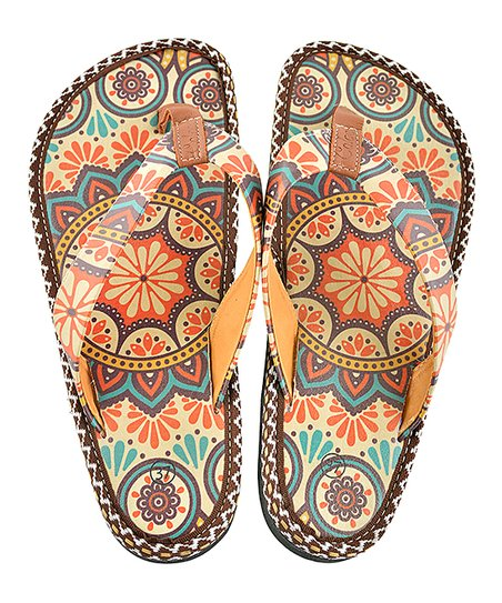 04c683c8bded love this product Brown   Red Arabesque Flip-Flop - Women