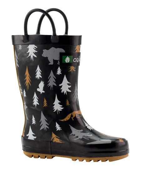 ecc087e3cd8b7 Oaki Black & Gray Wildlife Tracker Loop-Handle Rain Boot - Kids