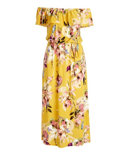 aa025eb347eb Mlle Gabrielle Yellow Floral Off-Shoulder Belted Maxi Dress - Plus ...