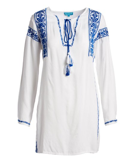 0ecc543c1f love this product White & Blue Embroidered Long-Sleeve Cover-Up - Women