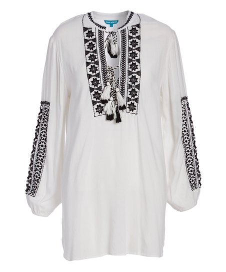 ece34f2a1e love this product White & Black Embroidered Long-Sleeve Cover-Up - Women