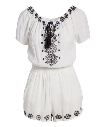 3ed63d162d love this product White & Black Embroidered Short-Sleeve Romper Cover-Up -  Women