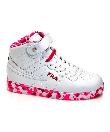 FILA White \u0026 Pink Glow Vulc 13 Mid Plus