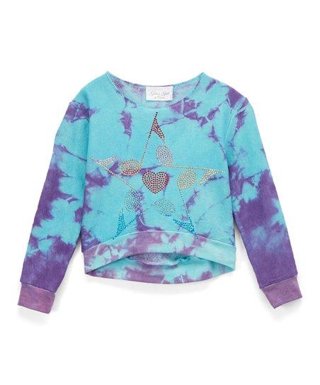 b0f4c0894a7 love this product Turquoise   Purple Tie-Dye Sweatshirt - Girls