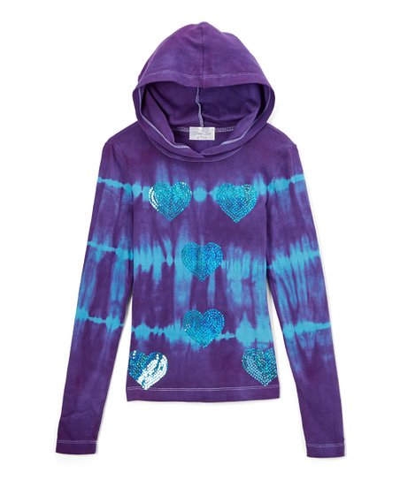 13185df6bc5 love this product Purple   Turquoise Tie-Dye Pullover Hoodie - Girls