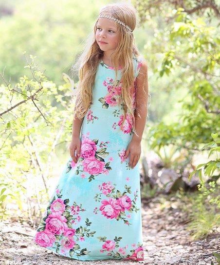 5d23b30d70 Whitney Elizabeth Mint   Pink Floral Maxi Dress - Toddler