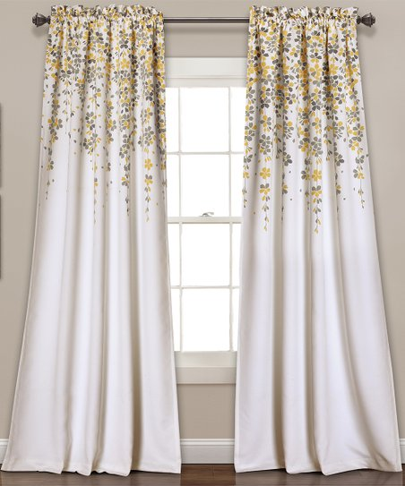 dd8664cb1a94fc love this product Yellow & Gray Weeping Flower Blackout Curtain Panel - Set  of Two