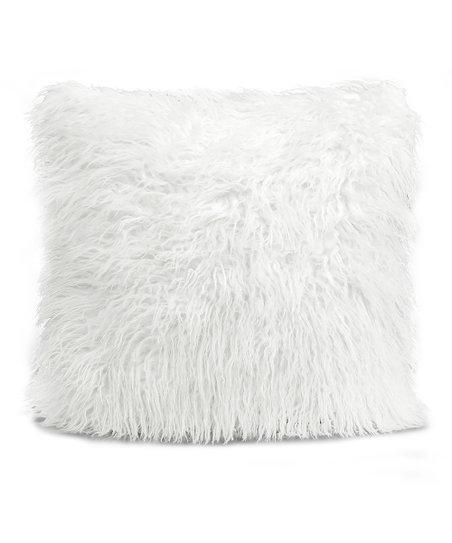 White Luca Fluffy Throw Pillow Zulily