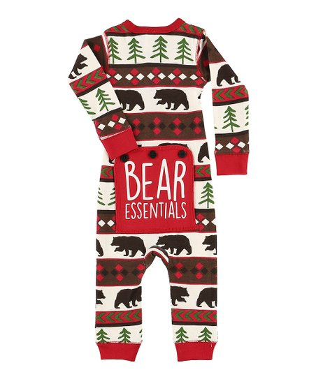 a9fa82c92 Lazy One Red   Brown bear Essentials Fair Isle Flapjack Pajama ...