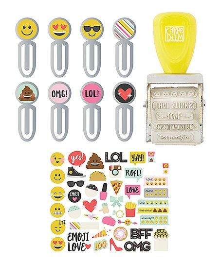 Simple Stories Emoji Sticker, Roller Stamp & Clip Set