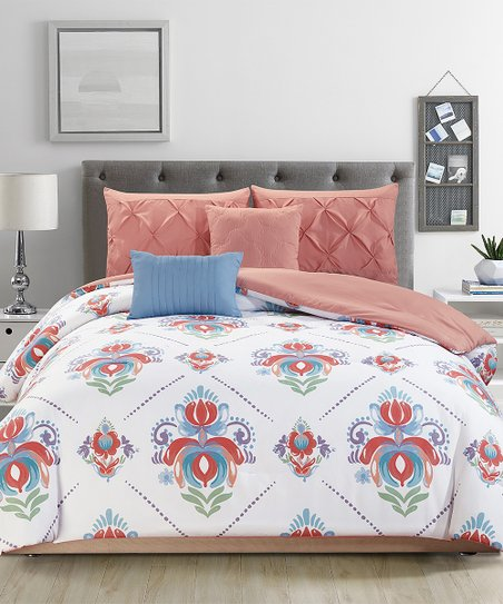Charmant Love This Product Peach U0026 Aqua Kendra Five Piece Reversible Comforter Set