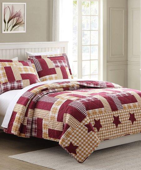 RT Designers Collection Burgundy & Gold Cedar Ridge Lone Star Reversible  Quilt Set