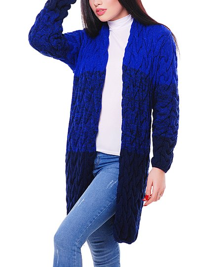 ea34cfb8e68 1FORYOU Electric   Navy Blue Color Block Cardigan