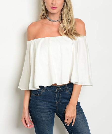 655d67d4c5edc love this product Off-White Ruffle Off-Shoulder Top