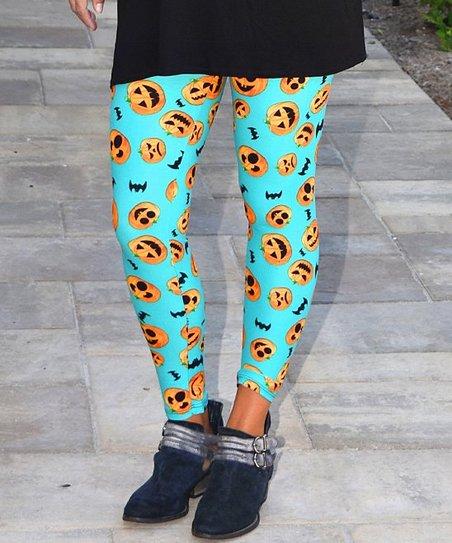 9156ceafa1ade9 CopyCat Couture Teal & Orange Pumpkin Leggings - Adult | Zulily