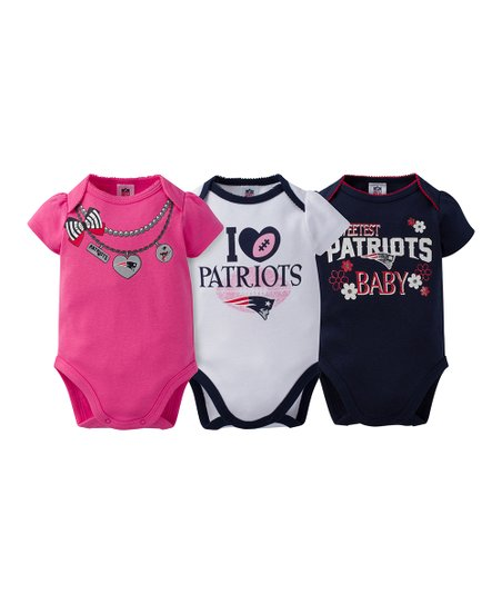 online store 81a14 edb09 Gerber Childrenswear New England Patriots Pink Short-Sleeve Bodysuit Set -  Infant