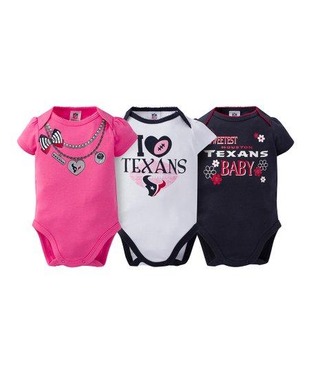 pretty nice 8ac1d 0de25 Gerber Childrenswear Houston Texans Pink Short-Sleeve Bodysuit Set - Infant