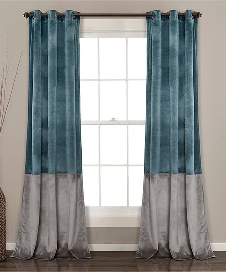 Slate Blue Gray Prima Color Block Curtain Panel Set Of Two