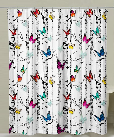 Butterflies Trees Shower Curtain