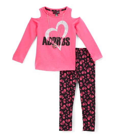 6105930722a80 love this product Fuchsia 'Adorbs' Cold-Shoulder Tee Set - Toddler & Girls