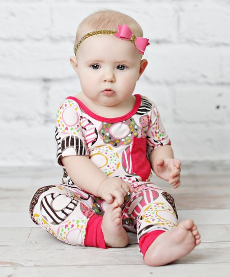91933872a5 Lollies and Lace Boutique Pink   White Donut Playsuit - Newborn