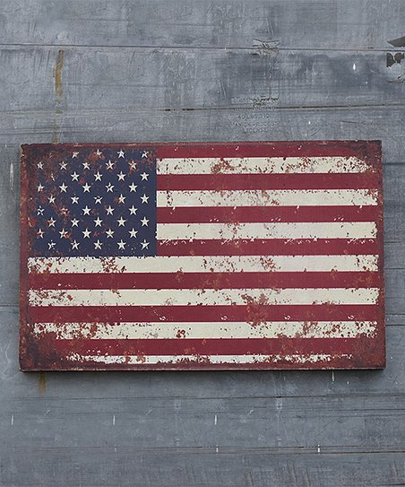 Weathered American Flag Wooden Wall Art