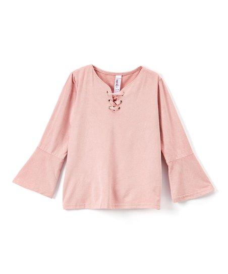 ad876109e75286 Pink Velvet Blush Bell-Sleeve Scoop Neck Top - Girls
